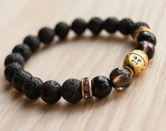 Gold Buddha & Grounding Lava Bead Bracelet, Smoky Quartz, Black Onyx, diffuser jewelry, essential oils, spiritual jewelry, gemstone bracelet