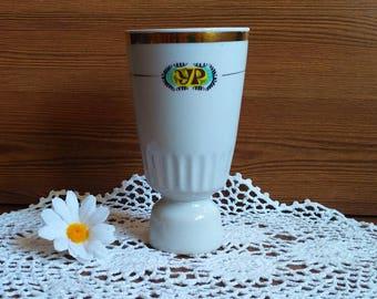 White porcelain vase Vintage ceramic vase Old porcelain Vase USSR Retro flower Vase goblet Soviet faience Gift women Serving dishe Gift mom