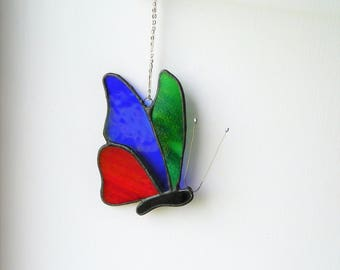 Butterfly Suncatcher, Stained Glass panel, nursery mobile, birthday gifts, Butterflies wings, ornament, hanging decoration, glass art gift,