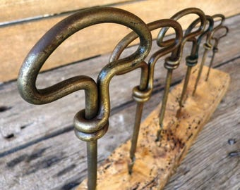6 tendrils wood metal - Wick wood working tool - hand - vintage metal tool drill - hand wood - Mag wood - old tool