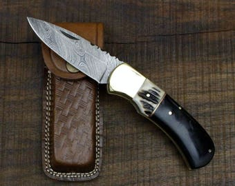 Winchester No. 2 - Damascus Folding Knife with Stag horn and Buffalo Horn Scales