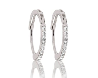 14K Solid White Gold Thin Huggie Round CZ Earrings