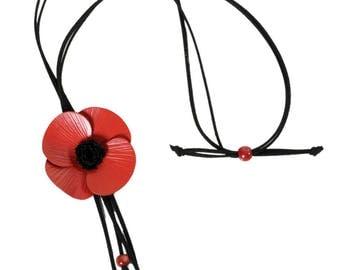 Leather poppy Flower necklace