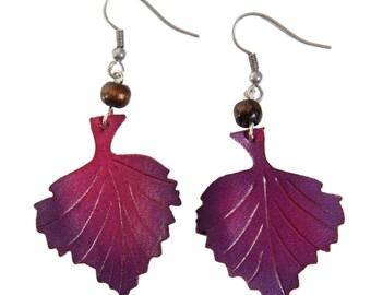 leaf earrings Hazel leather flower
