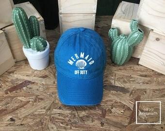 Mermaid Off Duty, Denim Cap, Jean Cap,Mermaid Hats, Mermaid Accessories, Mermaid party, Low-Profile Baseball Cap Hat