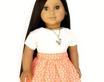 Flare Skirt, Floral, Coral, White, Fits dolls such as American Girl, 18 inch Doll Clothes, Mix and Match