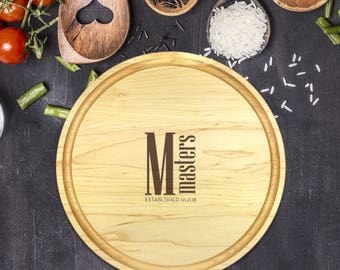 Personalized Cutting Board Round, Cutting Board Personalized, Wedding Gift, Housewarming Gift, Anniversary Gift, Christmas, Name, B-0059