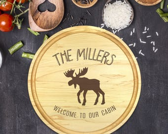 Engraved Cutting Board, Personalized Round Cutting Board, Rustic Gift, Gift for Couple, Cabin Gift, Christmas Gift, Moose, B-0112