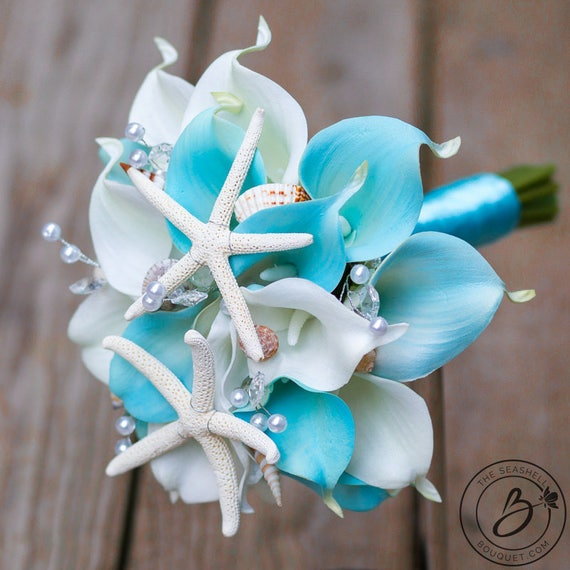 Light Blue Beach Wedding Bouquet Nautical Arube