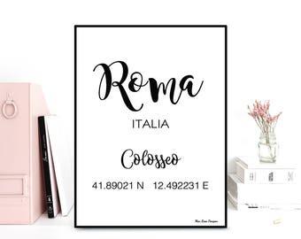 GPS Roma coordinates, GPS art print, Latitude longitude printable art, Wall decor, Typography quote, Black & white poster, Printable wall