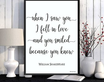 William Shakespeare quote, Wife Christmas gift, Husband Christmas gift, Love poster, Love quote print, Shakespeare poster, Home wall decor