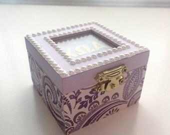 Purple Paisley: Sorority pin box, Handmade, Choose any Sorority