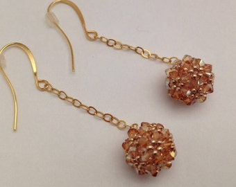 Metallic Sunshine Beaded Bead Earrings