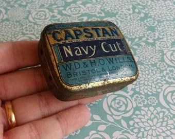 1930's Capstan Navy Cut Tobacco Tin - W.D & H.O Wills Bristol and London - Blue and Gold Advertising Tin
