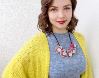 Chunky necklace statement 3D necklace Large bright necklace Unusual polymer clay necklace Bib necklace Unique necklace for woman