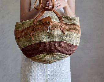 large vintage sisal tote bag | leather handle woven bag | sisal market bag | woven honeymoon beach tote | sisal shoulder bag