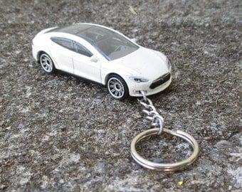 Tesla Model S keychain, Electric Car Keychain, Die Cast Sports Car, Mens or Womens keychain, Mens or Womens gift Stocking