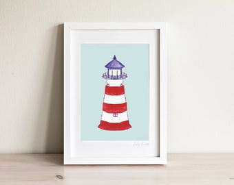Lighthouse Art, Lighthouse Print, Kids Beach Art, Nautical Nursery, Nautical Kids Room, Kids Gift, Kids Art, Kids Prints, Framed