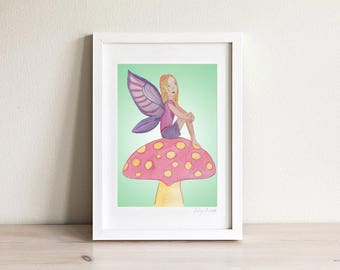 Fairy Print, Fairy Wall Art, Girls Room Prints, Girls Room Decor, Wall Art for Girls, Pink and Purple, Kids Art, Kids Prints, Framed