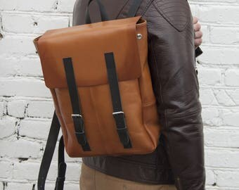 Leather backpack,brown backpack, FREE SHIPPING, leather bag, rucksack, leather rucksack, woman backpack, man backpack, sack, ginger rucksack