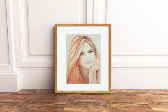 Jennifer Aniston portrait, Famous actress, Original watercolor, ooak, fans gift idea, wall art, home decoration, living art, lounge art.