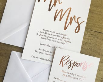 Rose gold elegant modern wedding invitation suite, rose gold foil