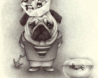 Pug Dog..Fine Art Giclée Print from an original Ballpen drawing