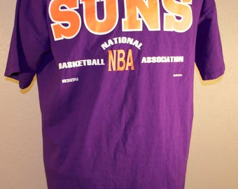 Vintage Phoenix Suns T-Shirt NBA XL X-Large Purple 100% Cotton Russell Athletic