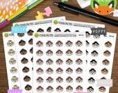 Kawaii Girl with Glasses Emojis - Emoji Happy Study Work Reading - Planner Stickers (K0102)