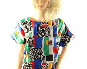 Vintage Judy Bond Colorful Wearable Art Blouse