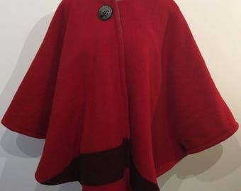 Vintage Repurposed Wool Blanket Cape -  Red with Black Stripe