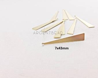 10pcs 7x43mm High Quality Raw Brass Triangle Pendants Earring Drops Geometry Minimal Painting Custom Eco-friendly Brass   AG300