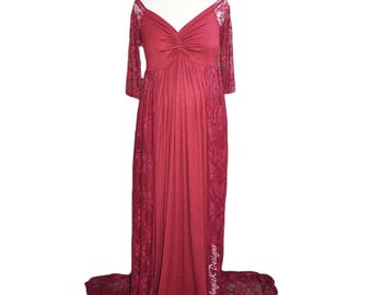 BURGUNDY/OffShoulderLong Sleeves/Long Lace or Chiffon Train/Knit Jersey/Lace Maternity Shoot Dress/Baby Shower Gown/PLUS sizes
