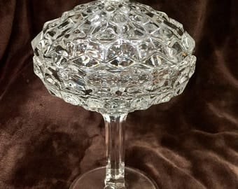 Fostoria American Glass Compote/Candy Dish with Lid
