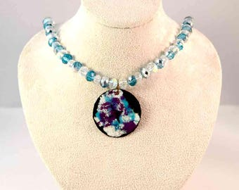 Handmade Enamel Pendant and Beaded Necklace - Aqua - Clear - Crystal - Purple - White - One-of-a-Kind - Gifts for Her - Christmas