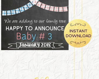 Baby Number 3 Pregnancy Announcement, Adding to Our Family Tree, Expecting Third Baby Sign, January 2018, Pregnancy Reveal, Instant Download