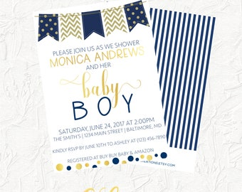 Navy and Gold Baby Shower Invitation, Boy Baby Shower Invitation, Baby Boy Invitation, Baby Shower, Navy and Gold, Boy Baby Shower, Digital