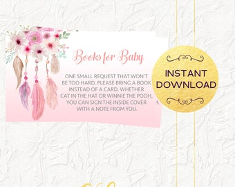 Pink Dreamcatcher Books for Baby Insert, Girl Baby Shower, Boho Books for Baby Insert, Baby Shower Invitation Insert, Instant Download