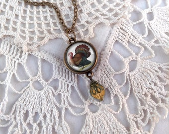 Victorian Turkey Pendant- Thanksgiving Necklace