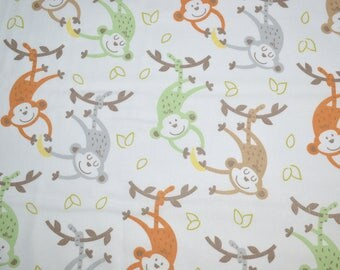 Monkeys Fabric, Cotton Fabric, Quilting Fabric, Fabric by the Yard, Nursery Fabric, Monkey Fabric