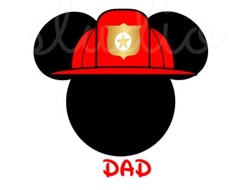 Personalized Fireman / Firefighter Fire Man Hat Mickey Mouse Disney Iron On Decal Vinyl for Shirt 150 Active