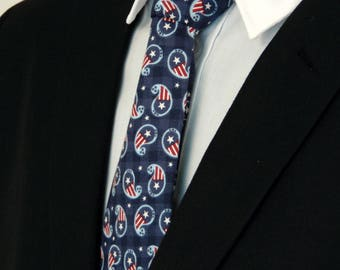4th of July Necktie, 4th of July Tie, Mens Necktie, Mens Tie, Paisley, Independence Day, Fathers Day, Birthday, Gift, Navy, Blue, White, Red