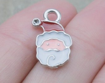 10 PIECES Santa Claus silver tone charm with enamel (Can Hold ss4 Pointed Back Rhinestone), Santa Claus charm, Christmas charm, B0081773