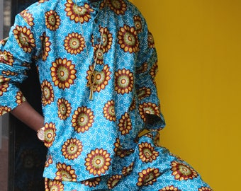 African Print Shirt - African T-Shirt - Print Shirt - Colourful Top - African Two Piece - African Shirt - Festival Clothing - Festival Shirt