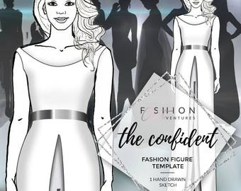 The Confident |  Fashion Template, Fashion Illustration, Croquis, Fashion drawing