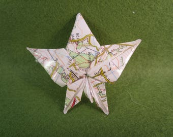 Recycled paper leaf brooch, recycled paper brooch, leaf brooch, recycled jewellery, recycled paper, leaf jewellery, leaves, vintage map