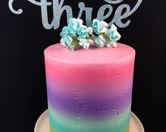 Three cake topper, third birthday cake topper, 3rd birthday cake topper, glitter cake topper