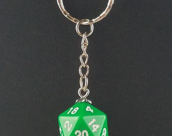 D20 Dice Dungeons & Dragons RPG Fantasy Solid Green Keychain