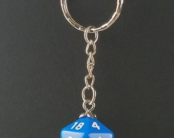 D20 Dice Dungeons & Dragons RPG Fantasy Solid Blue Keychain
