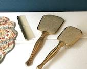 Vintage Vanity Set, Brush and Mirror, Bathroom Decor, Photography Props, Vintage Retro, 1950s 1960s, Dressing Table Set, Gold Silver Floral